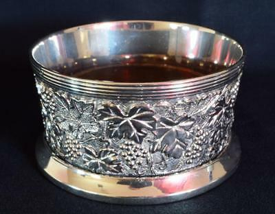 Silver Plated Bottle Coaster Vintage Vine and Grapes Motif