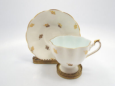 Queen Anne Bone China Gold Floral Pattern Tea Cup & Saucer