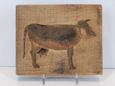 """Antique American Folk Art Hand-Carved Wooden """"Cow"""" Cake/Cookie Mold - Primitive"""
