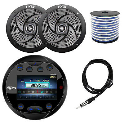 "Lanzar Marine Bluetooth Receiver, 6.5"" 2 Way Speakers, Speaker Wire, Antenna"