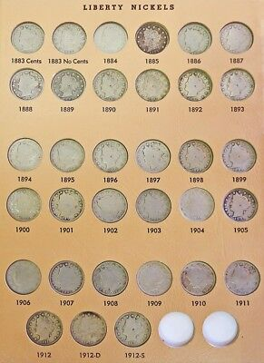 1883 - 1912 S Complete 33 Coin Us Liberty V Nickels Circulated Set