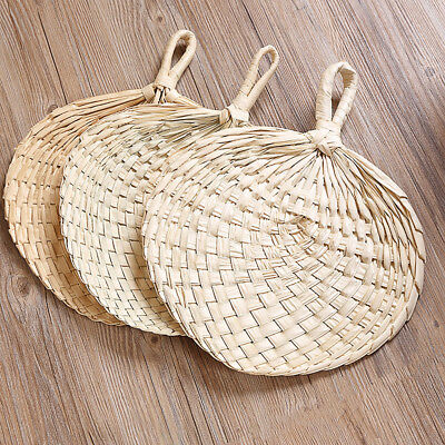 Chinese Manual Straw Hand Fans Handmade Palm Leaf Punka Cool Mosquito Fan