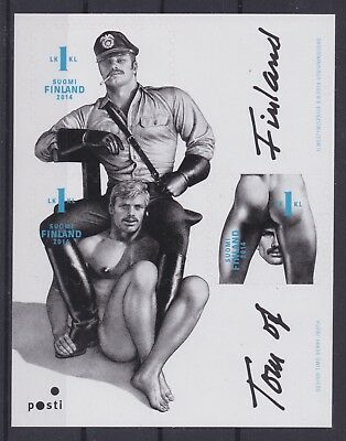 FINLAND—2014 'Tom of Finland' souvenir card w/3 stamps