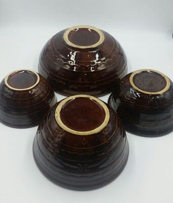 MARCREST DAISY DOT BOWLS STONEWARE MIXING BOWLS BROWN kitchen vtg lot of 4