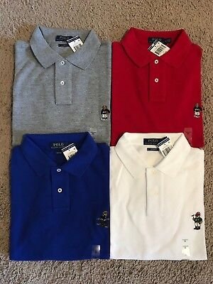 NEW Polo Ralph Lauren Men's Custom Fit SHIRT Bear Logo Mesh RED BLUE WHITE GREY