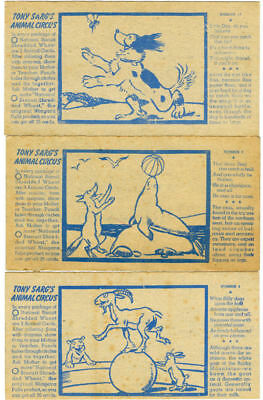 1938 Lot of 8 Tony Sarg's Animal Circus Cards NABISCO Shredded Wheat Premiums