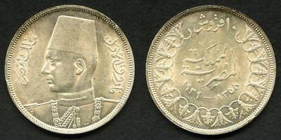 1939 Egypt Silver Coin Ten Piastres King Farouk Uniformed Bust Left Lustrous AU+