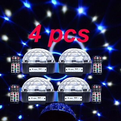 4x 6LED RGB Stage Light voice-activated MP3 Remote Control USB F/ Party DJ Bar