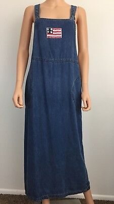 230048bfd0 Coldwater Creek size M tencel denim overall dress with American flag patch