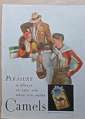 1930 magazine ad for Camel Cigarettes - Football player and admirers, colorful