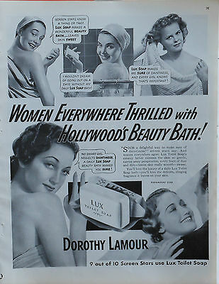 Vintage 1941 magazine ad for Lux Soap - Dorothy Lamour uses Lux soap, photo ad