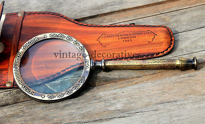 New Nutical Antique Brass Magnifying Glass With Leather Cover Collectible Decor