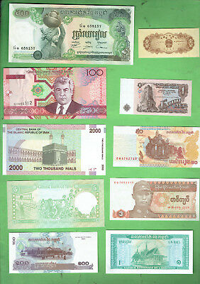 #d343.  2.   Ten  World  Banknotes