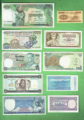 #d343.  3.   Ten  World  Banknotes