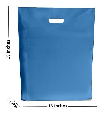 10 LARGE ROYAL BLUE PLASTIC BAGS BOUTIQUE GIFT SHOP CARRIER BAG 15x18+3 INCHES