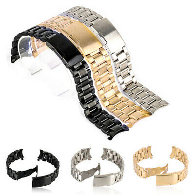 18/20/22/24mm Solid Stainless Steel Deployment Clasp Bracelet Watch Strap Band