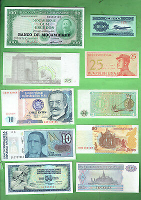 #d343.  6.   Ten  World  Banknotes