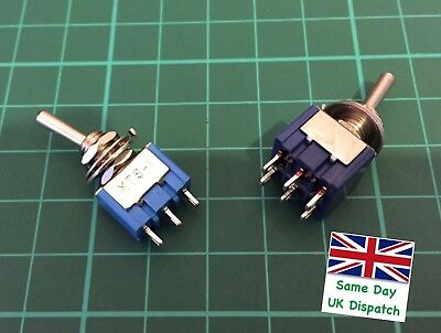 Mini Toggle Switch 3 and 6 Pin ON/ON DPDT 6A 125VAC/3A 250VAC