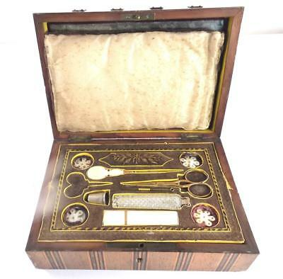 Antique French Palais Royale Necessaire Mother Of Pearl Sewing Box Casket Case