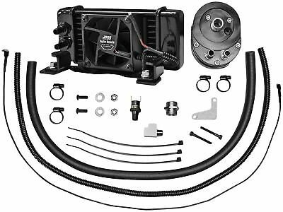 Jagg 751-FP2300 Horizontal Low-Mount 10 Row Fan-Assisted Oil Cooler Kit - Black