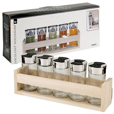 5 Piece 2 Sided Spice Rack Set Salt Pepper Glass Jars With Wooden Hanging Stand