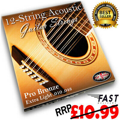 ADAGIO PRO - 12 STRING Acoustic Guitar Strings Extra Light Bronze Pack RRP 10.99