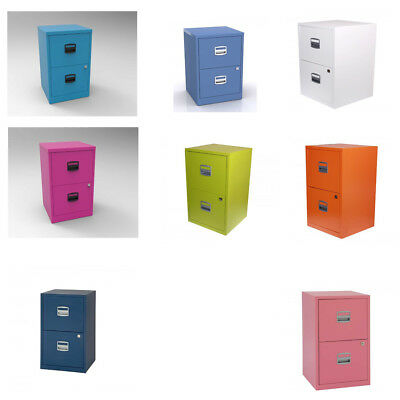 Steel Metal Filing Cabinet Small 2 Drawer A4 Office Storage Industrial Lockable