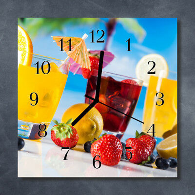 Tulup Glass Wall Clock Kitchen Clocks 30x30 cm Spices Multi-Coloured