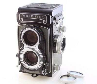 Rolleiflex T Grey 6x6 120 German Medium Format camera w/ 75mm f3.5 Tessar