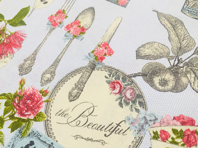 Country Kitchen Fabric - rose floral botanical village 280cm extra wide Sky Blue