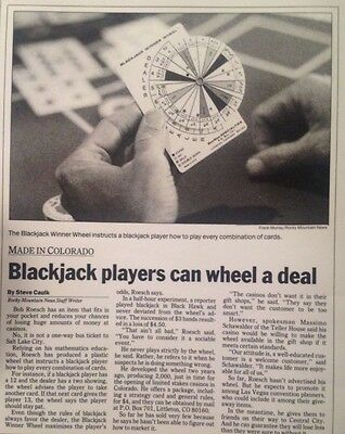 Playing and winning at BlackJack Winner Wheel & Manual.  Fits in your hand!!