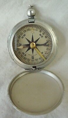 Vintage WW2 Era Military US Field Pocket Compass Wittnauer Blue Pointer WWII