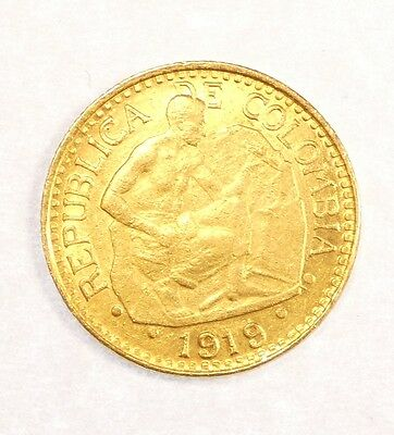 1919 Dot over 9 COLOMBIA GOLD 5 Pesos Coin BRILLIANT UNCIRCULATED