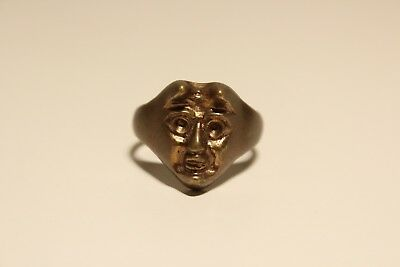 Antique Vintage Beautiful  Brass Men's Ring  With Relief Devil Head