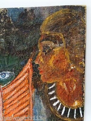 EGYPTIAN old OIL PAINTING PIERCING STRANGE EYES canvas TEXTURED crackly