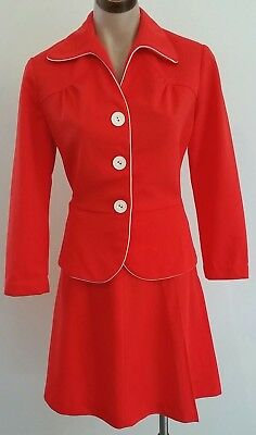 Vintage 70s YOUNG FASHIONS SYDNEY A Line RED WHITE SKIRT JACKET Set size 10