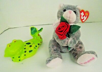 Ty Grandmother Beanie Babies Gray/Pink Cat with Rose MWMT Mothers Day Gift