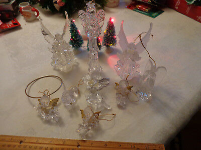 Angels Cherubs Clear Plastic Christmas Tree Ornaments Acrylic 9 Different sizes