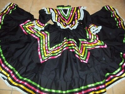 Mexican Folkloric Jalisco Style Dance,Ballet,Black Dress,Size Jr