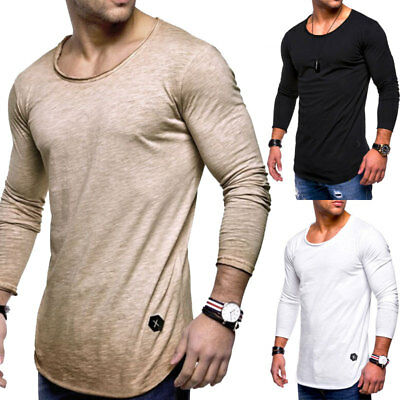 Fashion Men's Slim O Neck Long Sleeve Muscle Tee T-shirt Casual Fit Tops Blouse