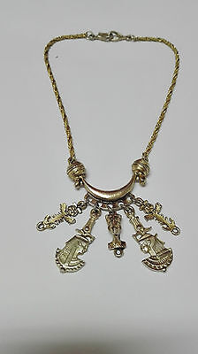 Vintage Antique Choker Necklace Egyptian Gold with Details of the Ancient Egypt