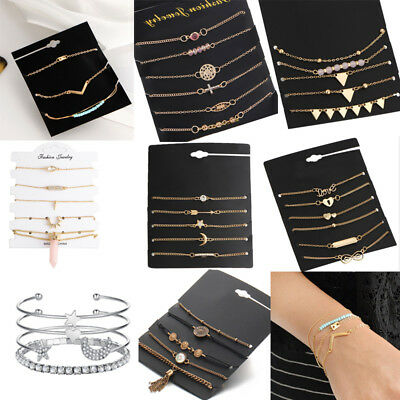 Fashion Women Jewelry Set Rhinestone Beaded Chain Alloy Bracelets Accessories