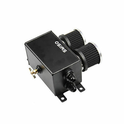 Osias Black Aluminum Oil Catch Can Reservoir Tank With Breather Filter Baffled