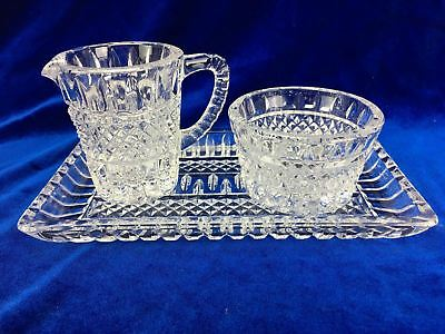 Vintage Pressed Glass Milk and Sugar Tea Set With Tray Shabby Kitchen Cute Trio