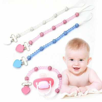 Cute Toddler Baby Pacifier Clips Crystal Soother Chain Dummy Nipple Leash Strap