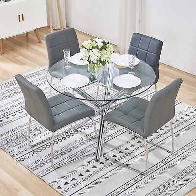 Round Glass Table and 4 Grey Chairs Modern Chrome Leather Office Dining Room Set