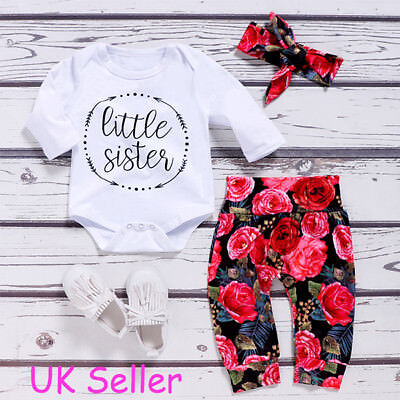 Newborn Kids Baby Girl Floral Clothes Romper Bodysuit Pants Headband Outfits Set