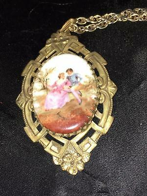 Vtg Antiq Victorian Porcelain Courting Couple Stamped Brass Pendant & Necklace