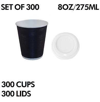 300 8oz 275ML TRIPLE WALL COFFEE CUPS TAKE AWAY CUP LID DISPOSABLE PAPER NEW