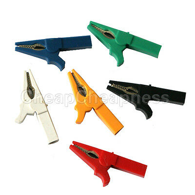 6X 55mm Alligator Clip for 4mm Banana PLUG Test cable Probes Insulate Clamp*TMD